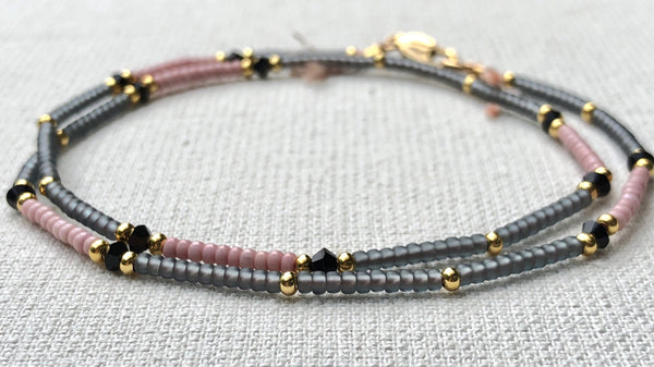 Crystal Pink & Grey Fine Bead Choker Necklace - Athena+Co - Jewellery - Jewelry - Beaded - Necklace - Bracelet - Fashion