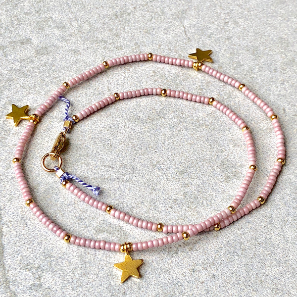 Golden Stars Dusty Pink Fine Bead Choker / Necklace - Athena+Co - Jewellery - Jewelry - Beaded - Necklace - Bracelet - Fashion