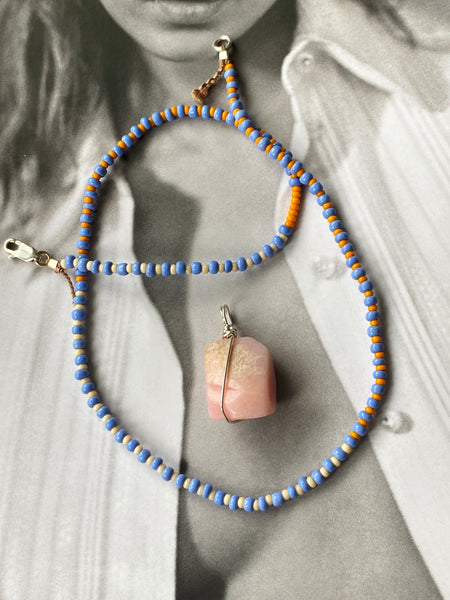 Lavender Orange Sterling Necklace