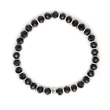 Black Rondelles and Silver Iris Square Hematite Disk Stretch Bracelet