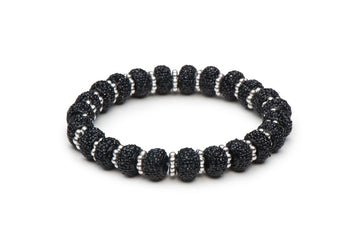 Black Rondelles Stretch Bracelet - Silver or Gold Tone