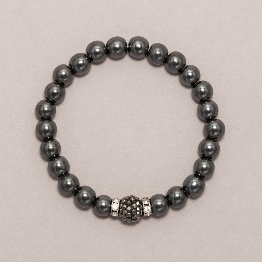 Gray Sparkle Ball Hematite Stretch Bracelet