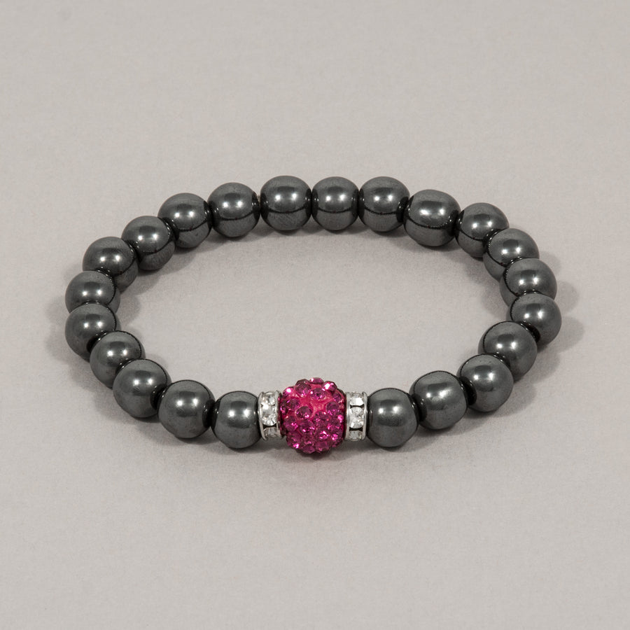 The Pink Sparkle Ball Hematite Stretch Bracelet