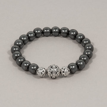Silver Carved Filigree Bead Hematite Stretch Bracelet