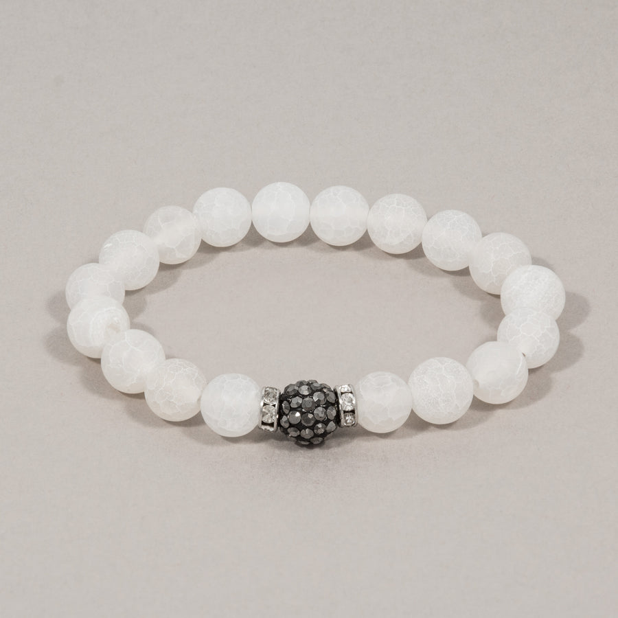 Grey Sparkle Ball and White Crackle Agate Stretch Bracelet