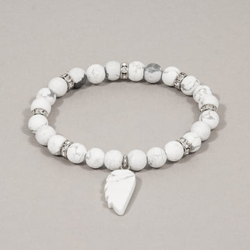 Angel Wing White and Grey Matte Howlite Stretch Bracelet