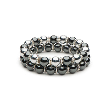 Hematite and Silver Stretch Bracelet Combination