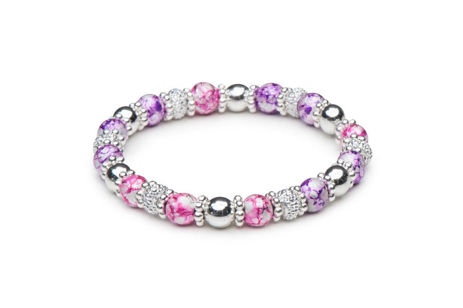 Pink and Purple Fusion Stretch Bracelet