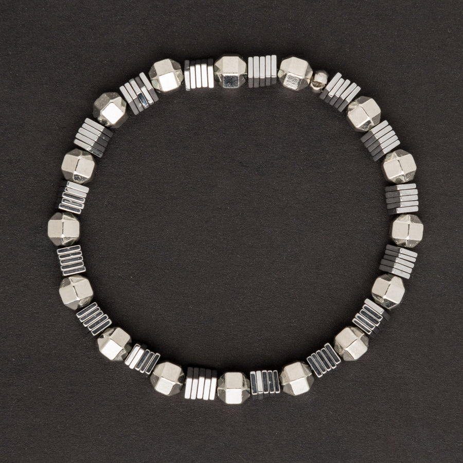 Silver Hexagon and Square Disk Stretch Bracelet