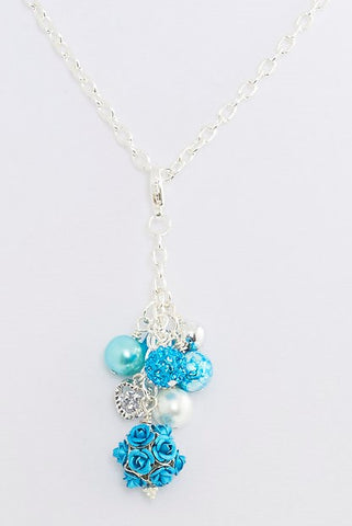 Teal Beads Cluster Pendant