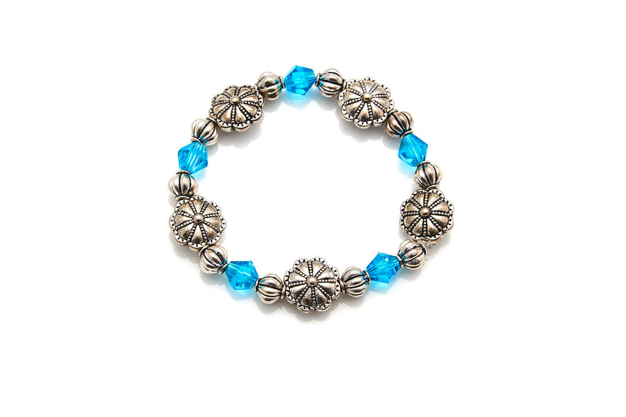 Pewter Flower and Teal Bicones Stretch Bracelet