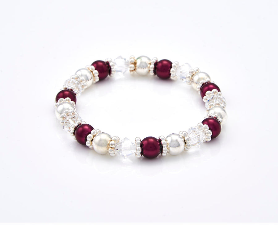 Burgundy and Silver Beads Stretch Bracelet