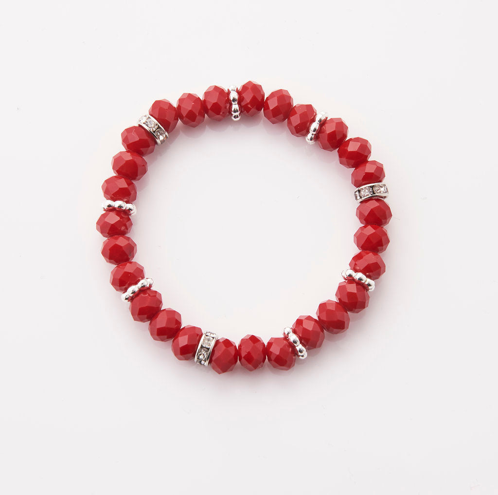 Red, Black or Red/Black Mix Rondelles and Rhinestones Stretch Bracelets