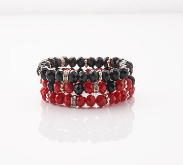 Red, Black and Rhinestones Rondelles Stretch Bracelets Combination