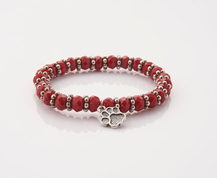 Red Rondelles with Paw Print Charm Stretch Bracelet