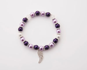 Guardian Angel Wing - Purple and Lavender - Stretch Bracelet