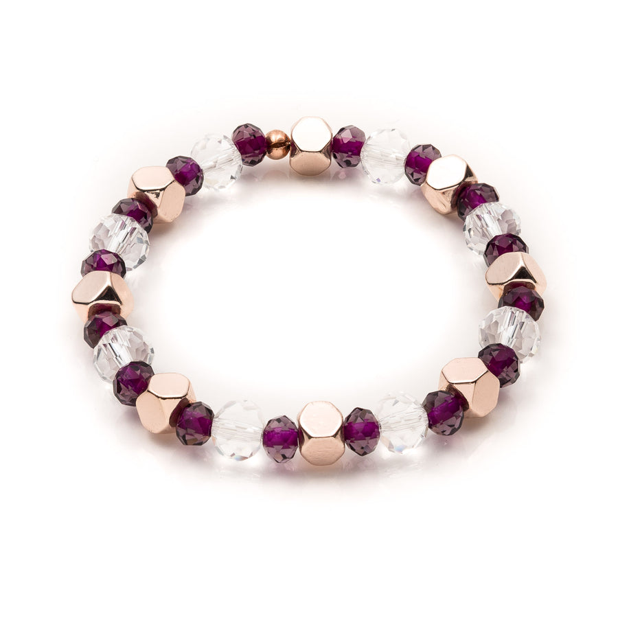 The Clear and Purple Rhondelle Stretch Bracelet