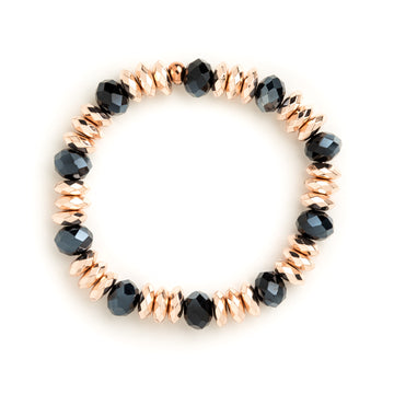 Hematite Rose Gold and Navy Blue Rhondelle Stretch Bracelet