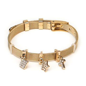 Gold Cross, Star and Diamond Dangle Slider Bracelet