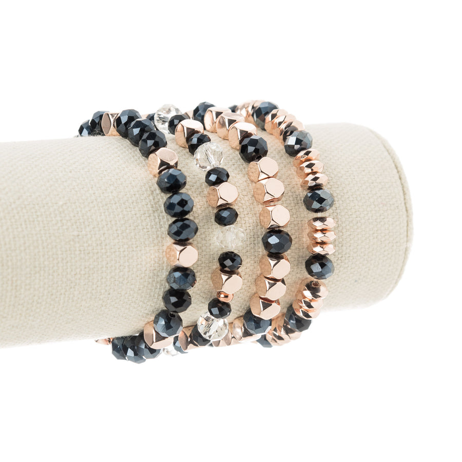 Rose Gold Hexagon and Navy Blue Rhondelle Stretch Bracelet