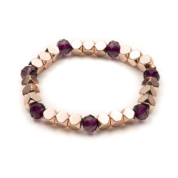 Rose Gold Hexagon and Purple Rhondelle Stretch Bracelet
