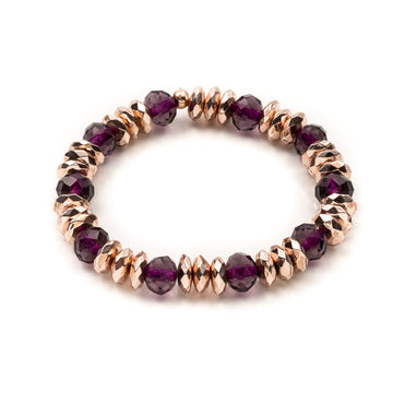 Hematite Rose Gold and Purple Rhondelle Stretch Bracelet