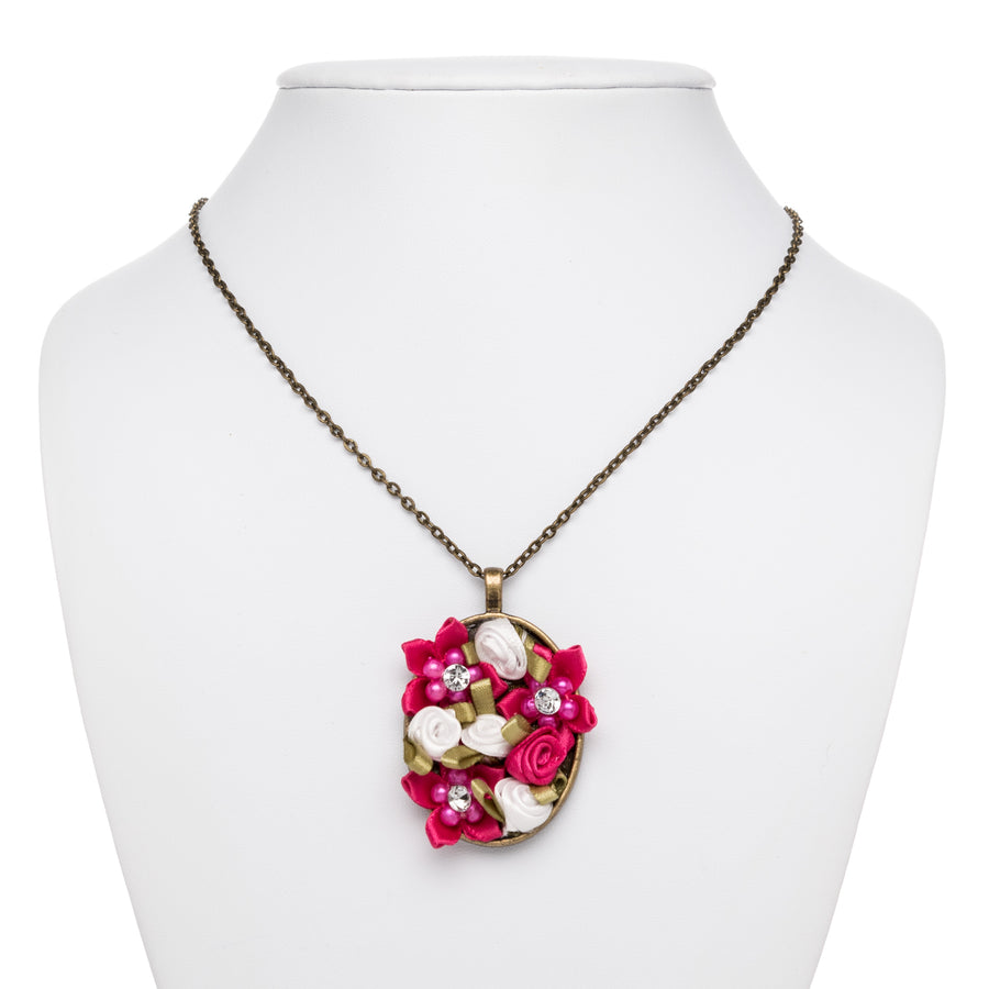 Pink and White Flower Bouquet Necklace