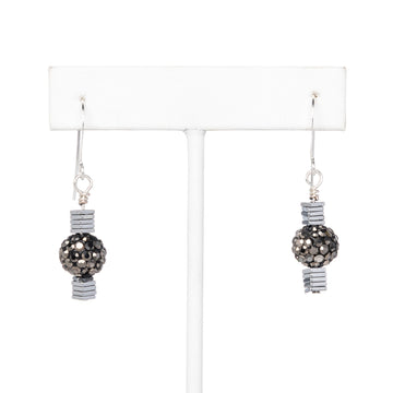 Grey Pave Ball and Hematite Disk Dangling Earrings