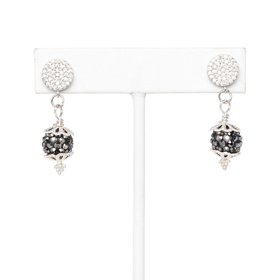 Grey Pave Ball Dangling Earrings