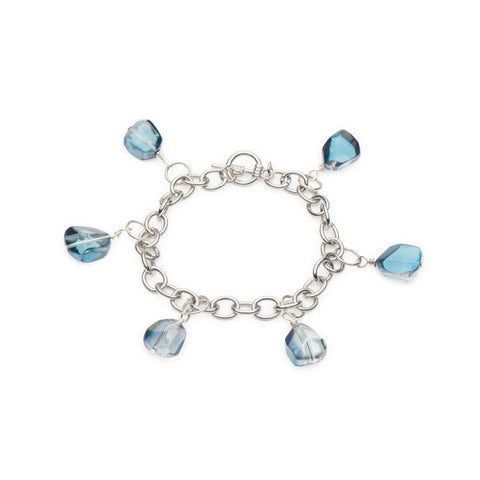 Blue Luster Glass Nuggets Bracelet