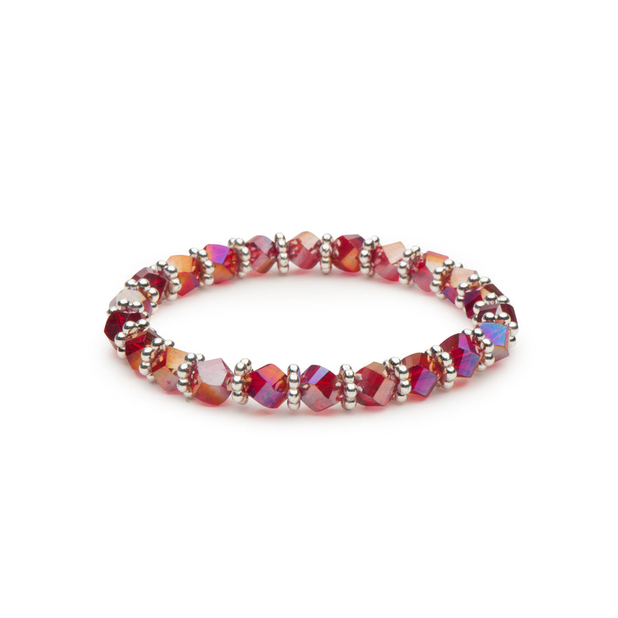 Ruby Red Beads Stretch Bracelet