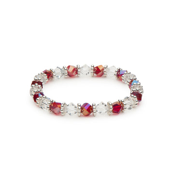 Ruby Red Beads and Clear Bicones Stretch Bracelet