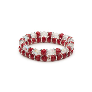 Holiday Red Faceted Rondelles and Clear Bicones Strect Bracelet Combination