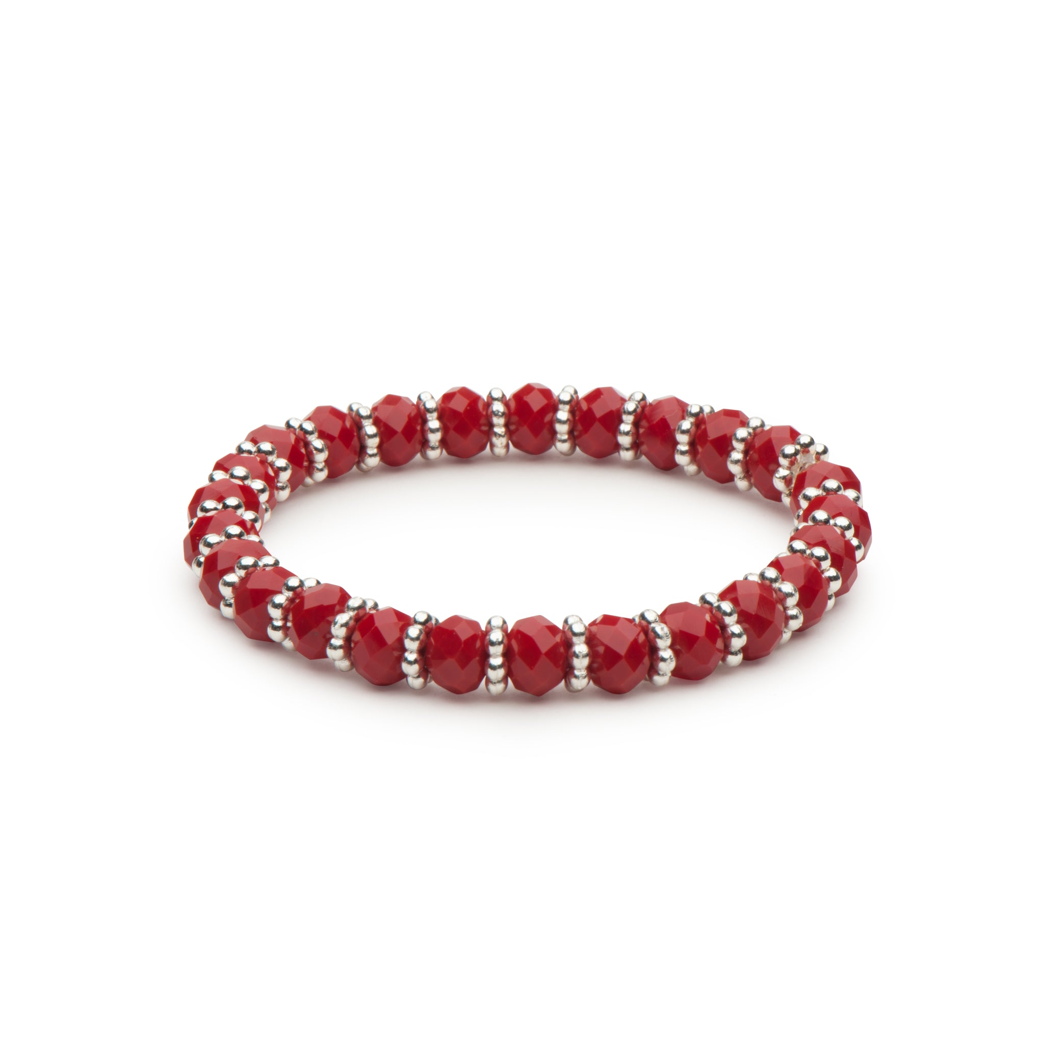 Holiday Red Faceted Rondelles Stretch Bracelet