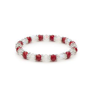 Holiday Red Faceted Rondelles and Clear Bicones Stretch Bracelet