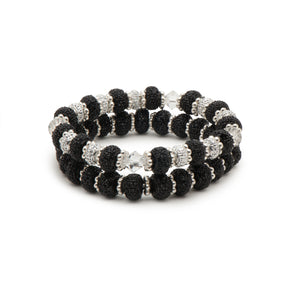 Sparkling Balck Rondeeles and Clear Bicones Stretch Bracelet Combination