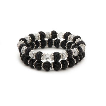 Sparkling Black Rondeeles and Clear Bicones Stretch Bracelet Combination