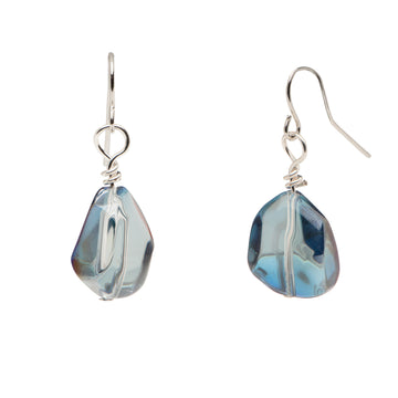 Blue Luster Glass Nugget Earrings