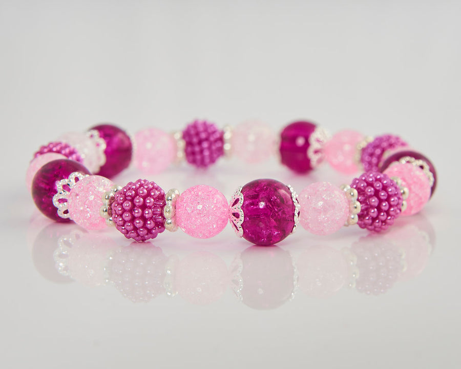 Raspberries and Rose Quartz Stretch Bracelet