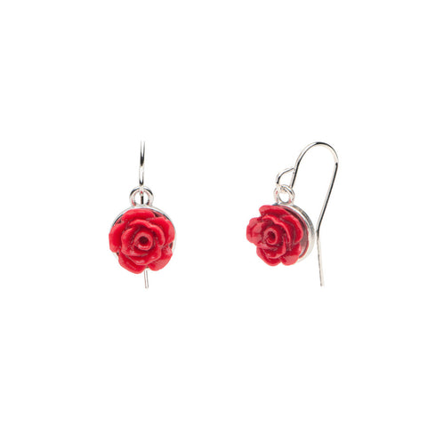 Flower Garden - Rose Earrings - Red