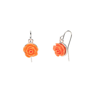 Flower Garden - Rose Earrings - Orange
