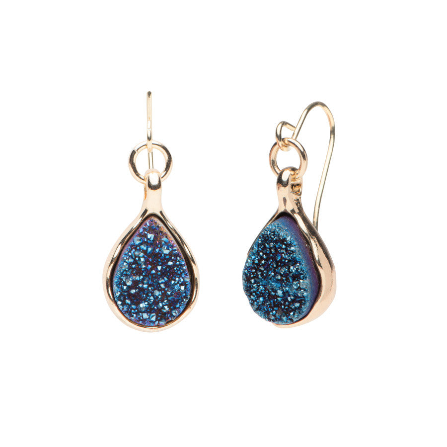 Druzy Earrings - Navy Blue - Gold Tone