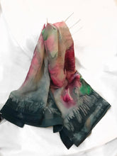 Etched Velvet Turquoise and Dark Pink and Green Shawl (Susy Collection)