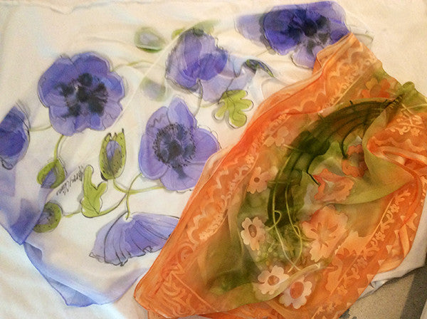 Blue Poppies and Melon Silk Scarves (Duo of Vivien and Kelly Collection)