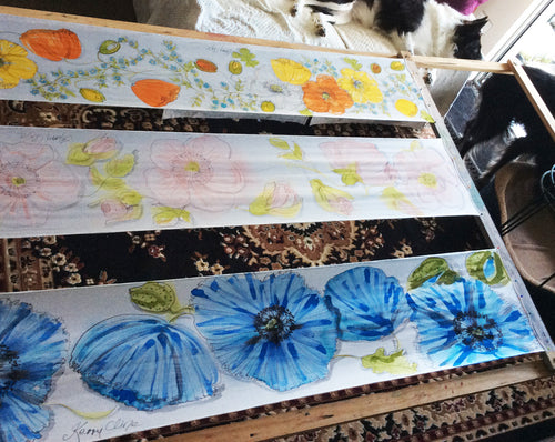 Decorative Light Scarves with Flowers Painted (Vivien Collection)