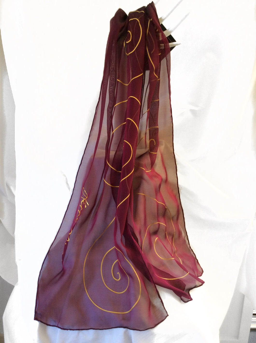 Maroon and Gold Silk Scarf (Tina Collection)