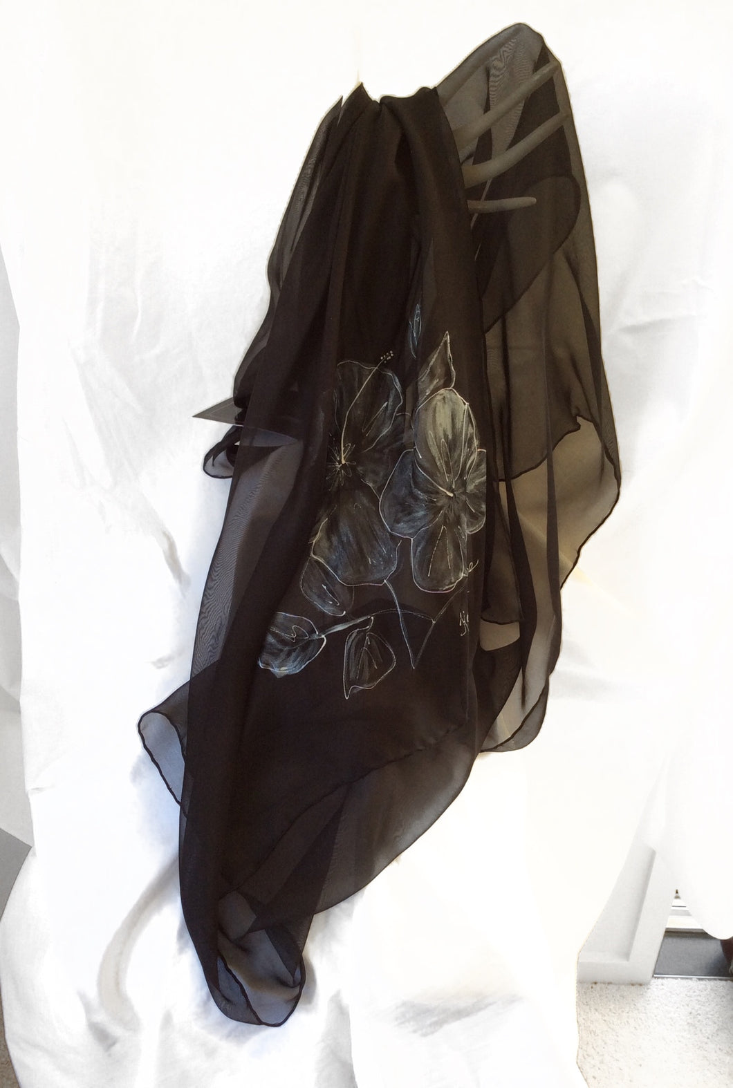 Black and Pearl White Silk Scarf (Tina Collection)