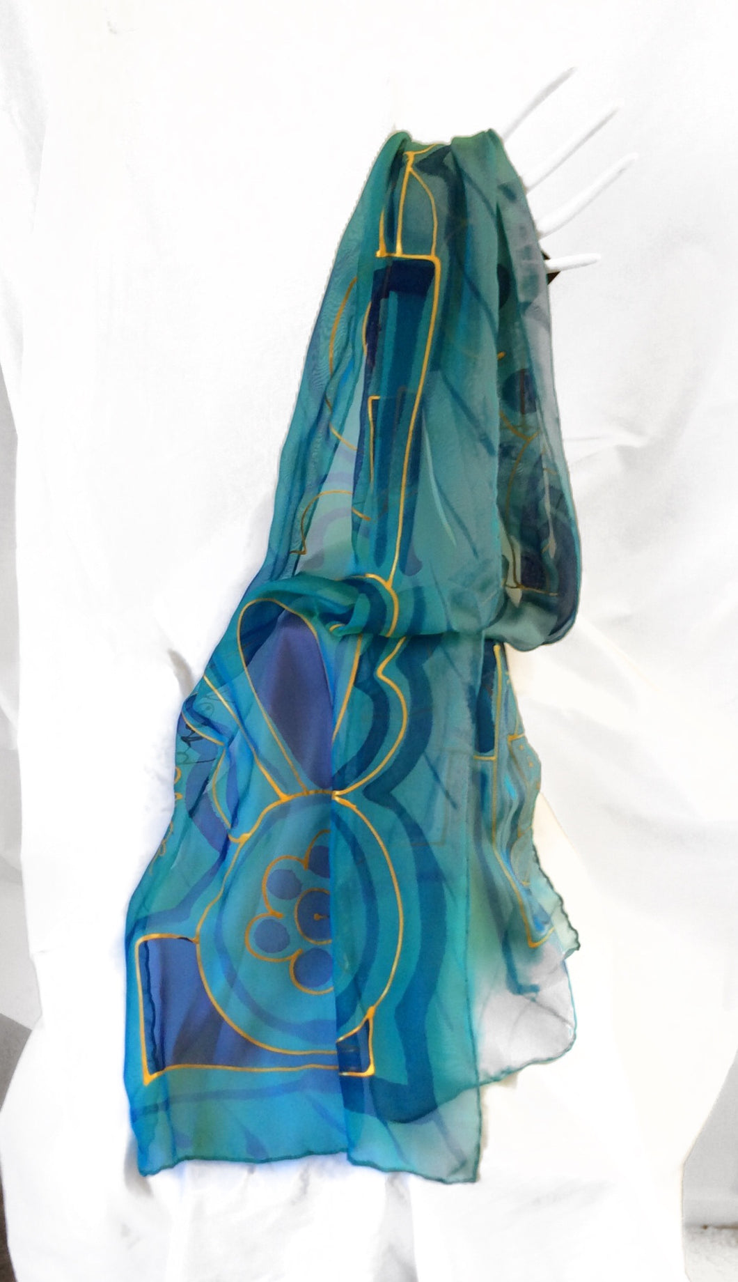 Turquoise and Gold Silk Scarf (Tina Collection)