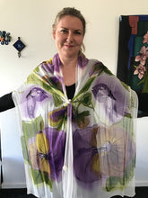 Giant Pansies  on Crepe Chiffon Scarf (Vivien Collection)