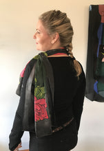 Red Roses on Black Heavy Satin Scarf (Stacey Collection)